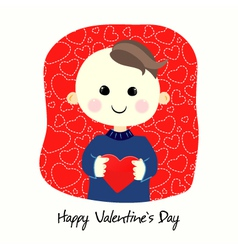 Valentines Day postcard with boy vector image