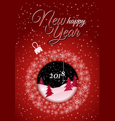vertical red christmas card white christmas ball vector image
