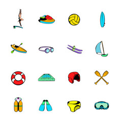 Water sport icons set cartoon vector