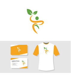 wellness logo business card and t shirt design vector image