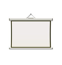 white projection screen hanging from wall with cop vector image