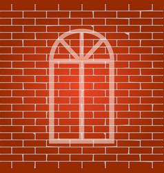 window simple sign whitish icon on brick vector image