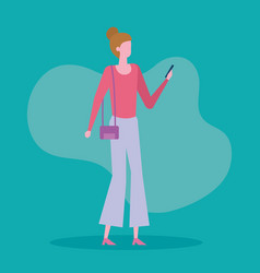 Woman with purse and smartphone with casual vector