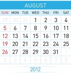 august calendar vector image vector image