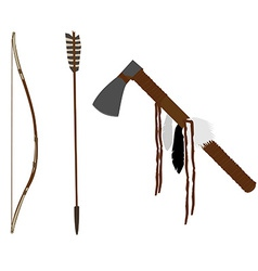 Bow and tomahawk vector image