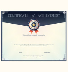Certificate of achievement frame design template vector image vector image
