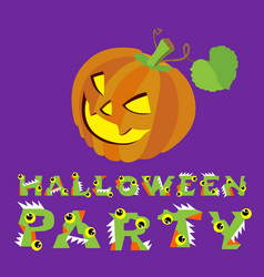 halloween creepy pumpkin and vector image vector image