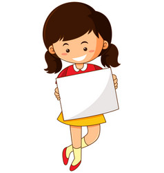 Happy girl holding white paper vector