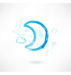 Moon grunge icon vector image