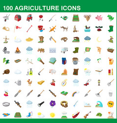 100 agriculture icons set cartoon style vector image vector image