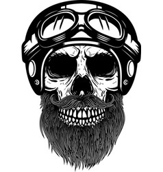 bearded skull in racer helmet design element for vector image vector image