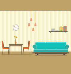 interior design in flat style of living room with vector image vector image