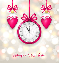 New Year Midnight Glowing Background with Clock vector image vector image