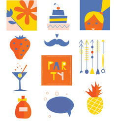 Party icons funny set vector image