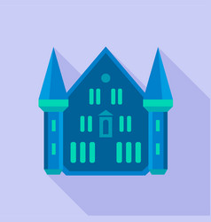 Blue castle palace icon flat style vector