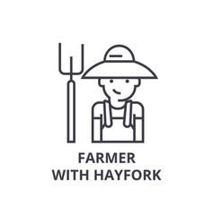 farmer with hayfork line icon outline sign vector image vector image