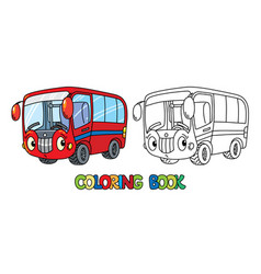 Funny small bus with eyes coloring book vector
