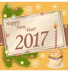 scrapbooking card Happy New Year 2017 vector image vector image