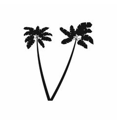Two palm plant trees icon simple style vector image