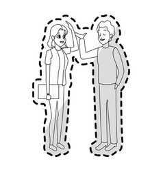 young adults having conversation icon image vector image