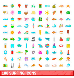 100 surfing icons set cartoon style vector image vector image