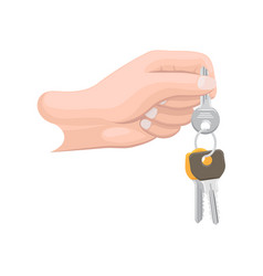 arm holds bunch of keys isolated vector image vector image