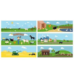 Beautiful Farmyard Cartoon Banners vector image vector image