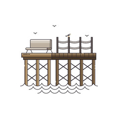 bench on wooden pier vector image