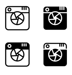 black digital camera icons set vector image
