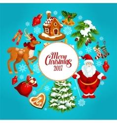 Christmas holidays cartoon poster for xmas design vector