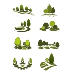 Green park and garden landscape icons vector image