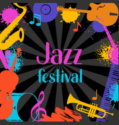 jazz festival grunge background with musical vector image