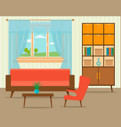 living room interior design in flat style vector image
