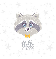raccoon cute vector image vector image