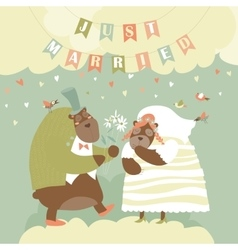 Two lovely bears just married vector