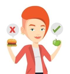 Woman choosing between hamburger and cupcake vector