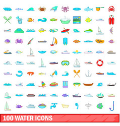 100 water icons set cartoon style vector