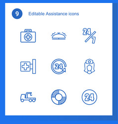 9 assistance icons vector