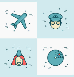 airplane pilot stewardess and radar line icons vector image
