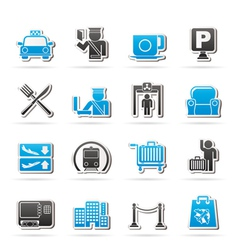 Airport and transportation icons vector image