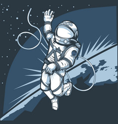 Astronaut in outer space against backdrop vector