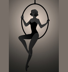 Backlit silhouette woman trapeze artist vector