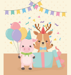 birthday card with little animals characters vector image
