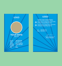 blue nice id card 13 vector image