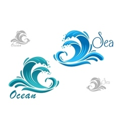 Blue sea waves icon with water splash vector