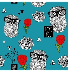 Blue sky seamless pattern with smart owls and vector