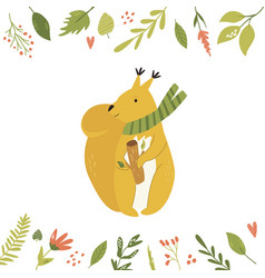 bright floral card with cute squirrel in a scarf vector image