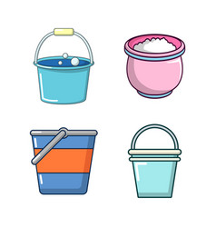 bucket icon set cartoon style vector image