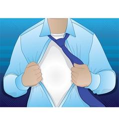 Business Man Opening Shirt vector image