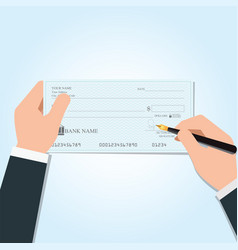 Businessman writing a payment bank checks vector